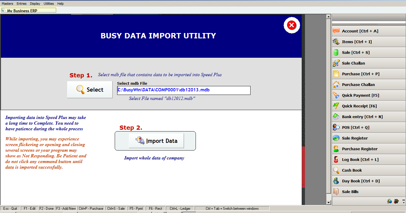 how to IMPORT DATA FROM BUSY